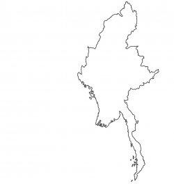 Burma (Myanmar) Map Outline